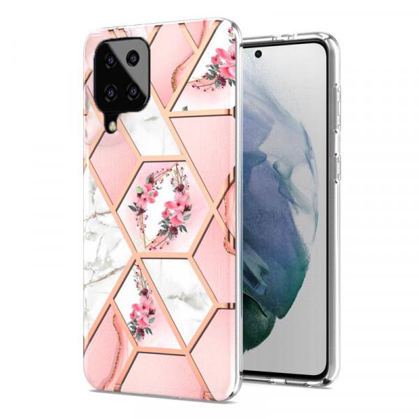 Силиконовый чехол с принтом для Samsung A12 Розовый