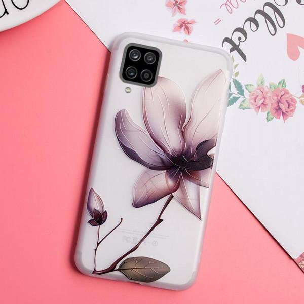 Рельефный силиконовый чехол для Samsung A12 с картинкой Магнолия