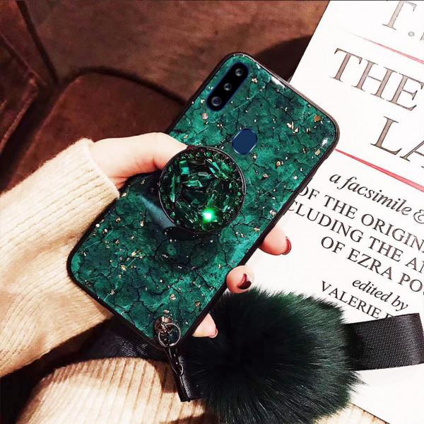 Силиконовый чехол с попсокетом и меховым помпоном для Samsung A20s Зеленый