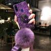 Силиконовый чехол с попсокетом и меховым помпоном для Samsung A20s Фиолетовый