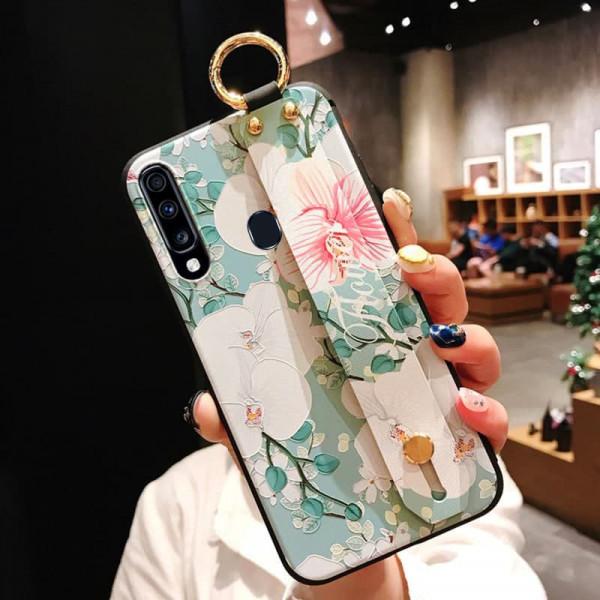 Силиконовый чехол для Samsung Galaxy A20s с ремешком-подставкой Орхидея