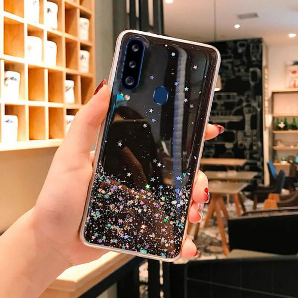 Силиконовый чехол с блестками для Samsung A20s Черный