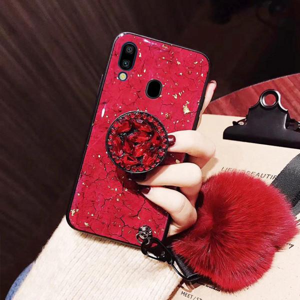 Силиконовый чехол с попсокетом и меховым помпоном для Samsung A40 Красный