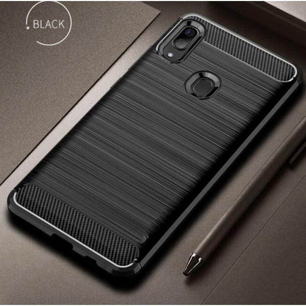 Силиконовый чехол с карбоновой вставкой для Samsung A30/A20 Черный