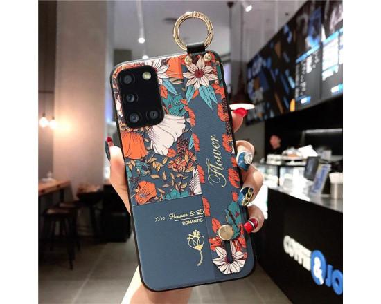 Силиконовый чехол для Samsung Galaxy A31 с ремешком-подставкой Flower Romantic