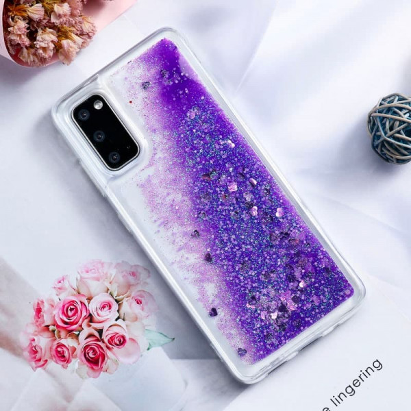 Силиконовый чехол с жидким глиттером для Samsung A31 Фиолетовый