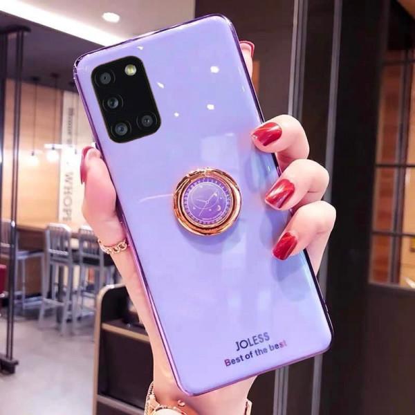 Силиконовый чехол с кольцом-держателем для Samsung A31 Лавандовый