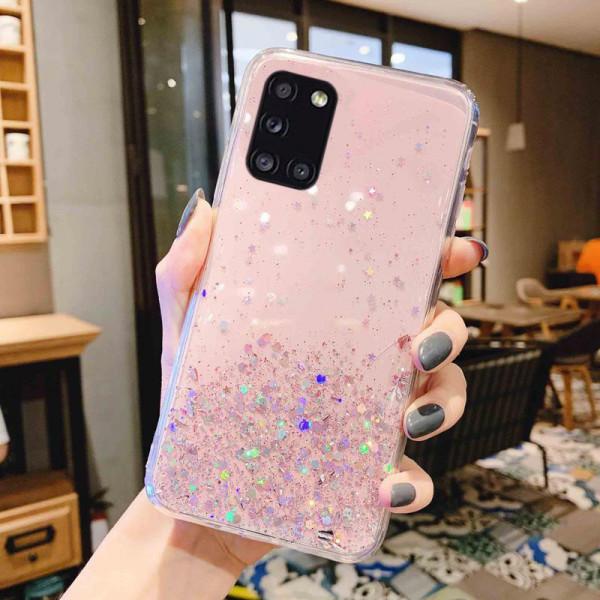 Силиконовый чехол с блестками для Samsung A31 Розовый