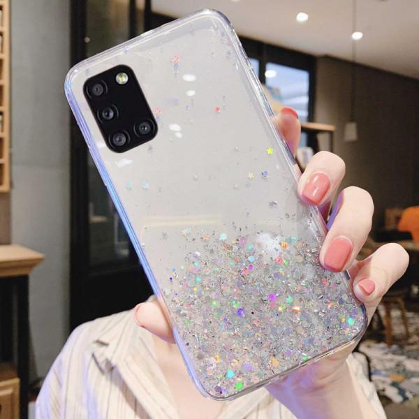 Силиконовый чехол с блестками для Samsung A31 Серебристый