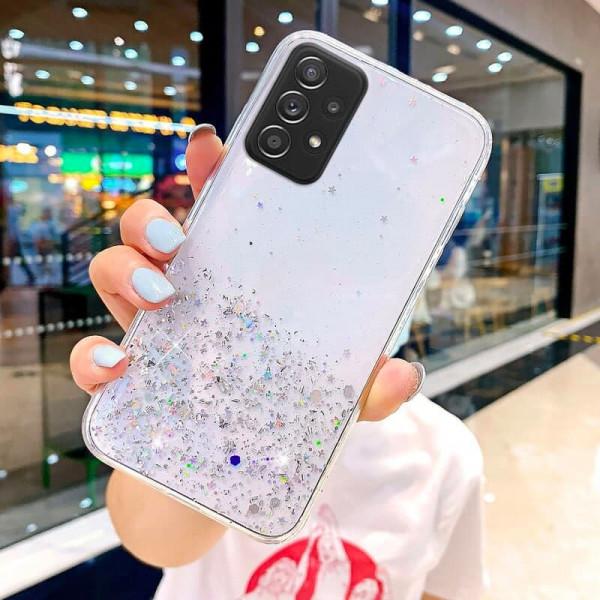 Силиконовый чехол с блестками для Samsung A32 Серебристый