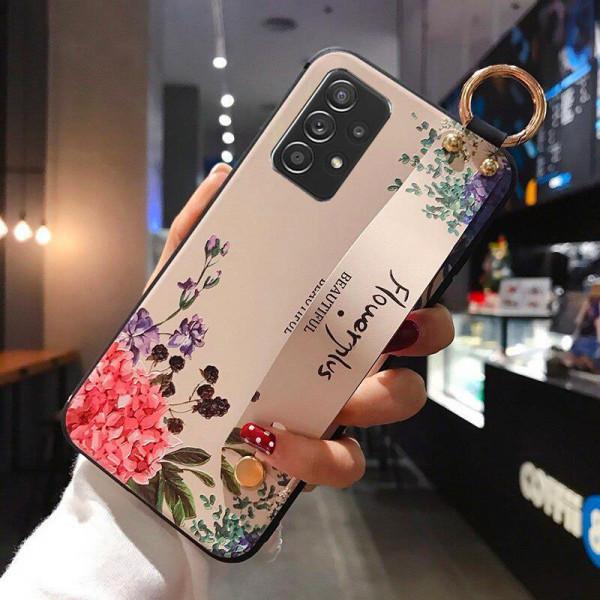 Силиконовый чехол для Samsung Galaxy A52 с ремешком-подставкой Flowerplus