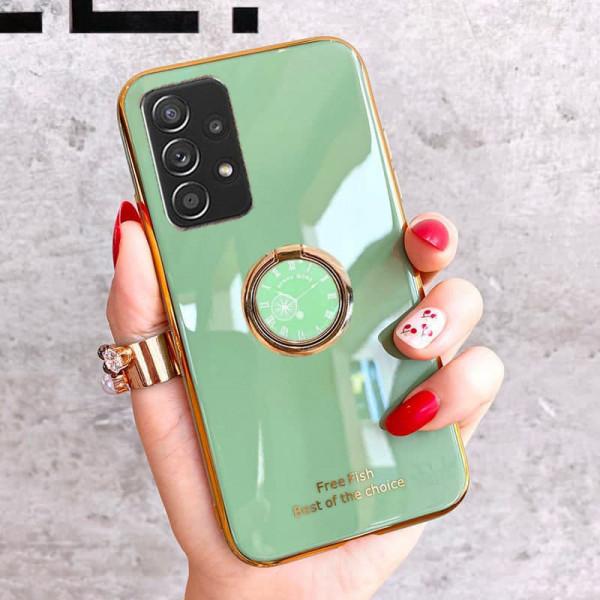 Силиконовый чехол с кольцом-держателем для Samsung A52 Светло-зелёный