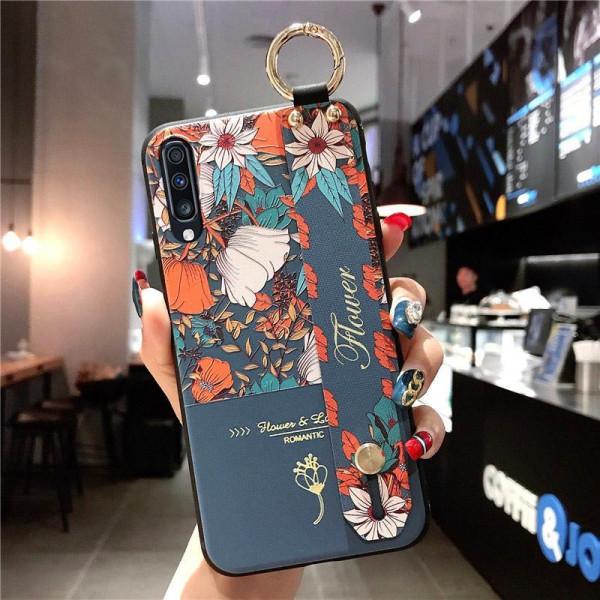 Силиконовый чехол для Samsung Galaxy A30s/A50/A50s с ремешком-подставкой Flower Romantic