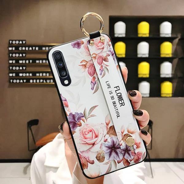 Силиконовый чехол для Samsung Galaxy A70 с ремешком-подставкой Розы на белом