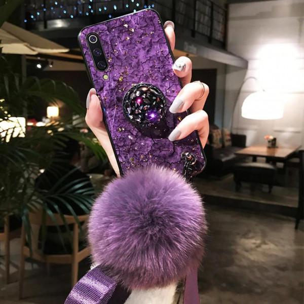 Силиконовый чехол с попсокетом и меховым помпоном для Samsung A70 Фиолетовый