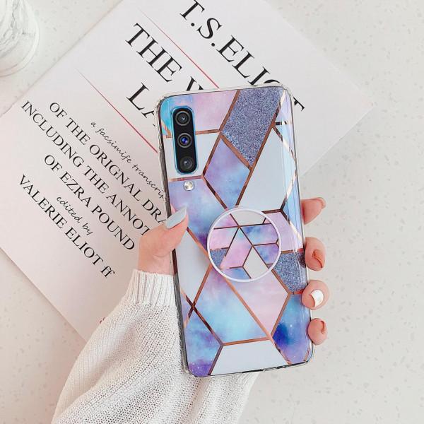 Силиконовый чехол с принтом и попсокетом для Samsung A70 Голубой