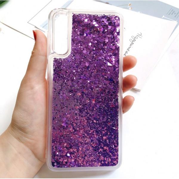 Силиконовый чехол с жидким глиттером для Samsung A50s/A50/A30s Фиолетовый