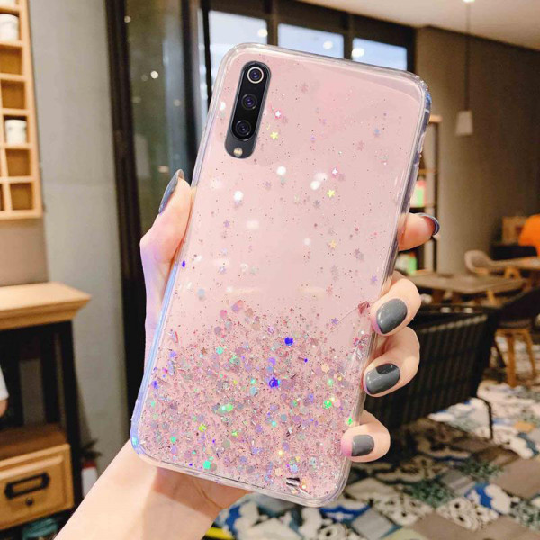Силиконовый чехол с блестками для Samsung A70 Розовый