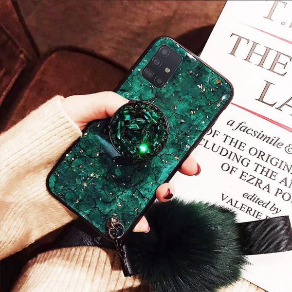 Силиконовый чехол с попсокетом и меховым помпоном для Samsung A71 Зелёный