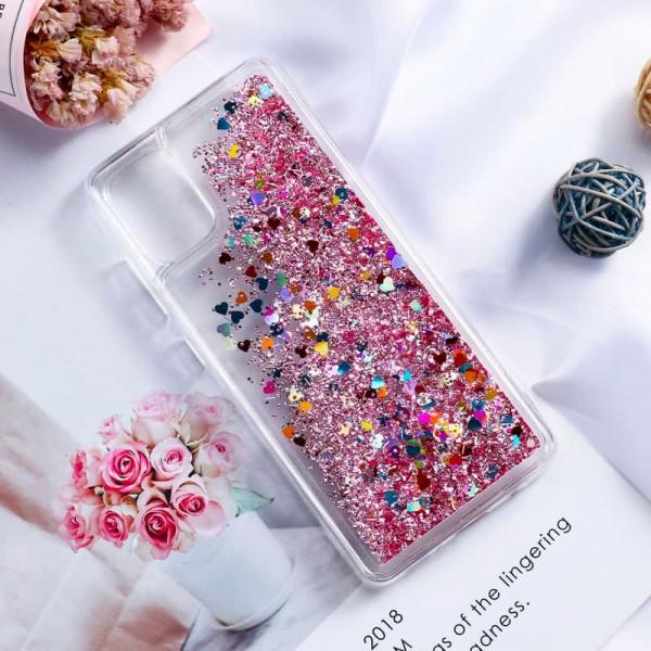 Силиконовый чехол с жидким глиттером для Xiaomi Poco M3 Розовый