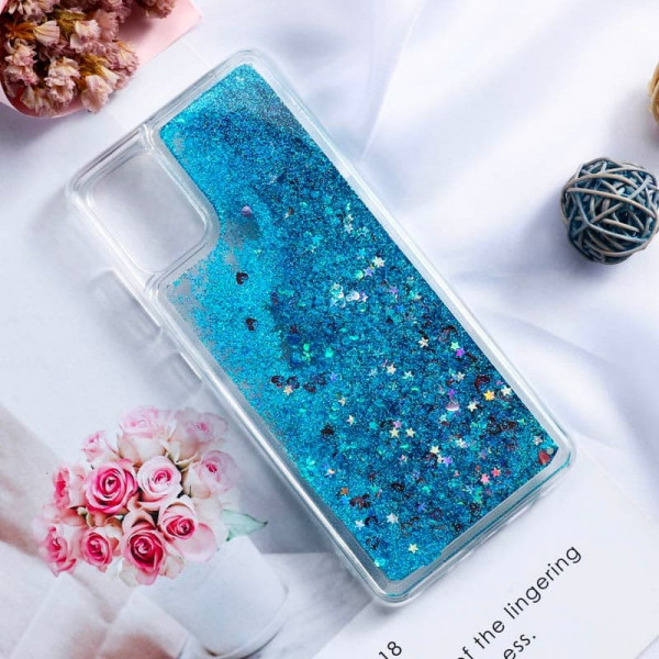 Силиконовый чехол с жидким глиттером для Samsung A51 Голубой