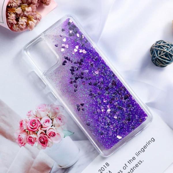 Силиконовый чехол с жидким глиттером для Samsung A51 Фиолетовый