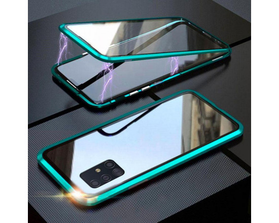 Двухсторонний магнитный чехол для Samsung A51 Бирюзовый