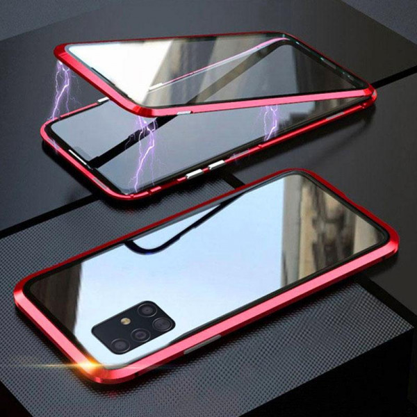 Двухсторонний магнитный чехол для Samsung A71 Красный