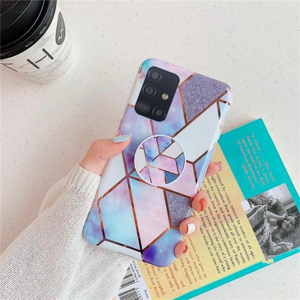 Силиконовый чехол с принтом и попсокетом для Samsung A51 Голубой