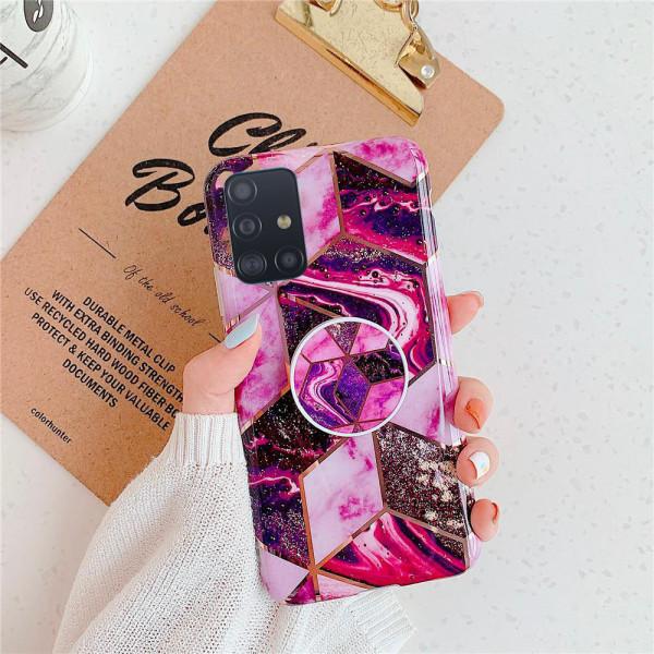 Силиконовый чехол с принтом и попсокетом для Samsung A71 Пурпурный