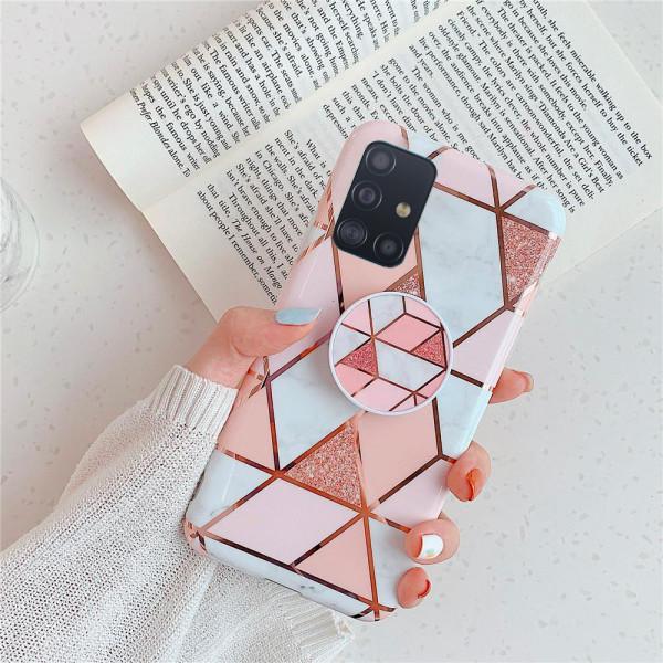 Силиконовый чехол с принтом и попсокетом для Samsung A51 Розовый