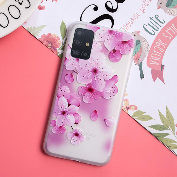 Рельефный силиконовый чехол для Samsung A51 с картинкой Цвет вишни