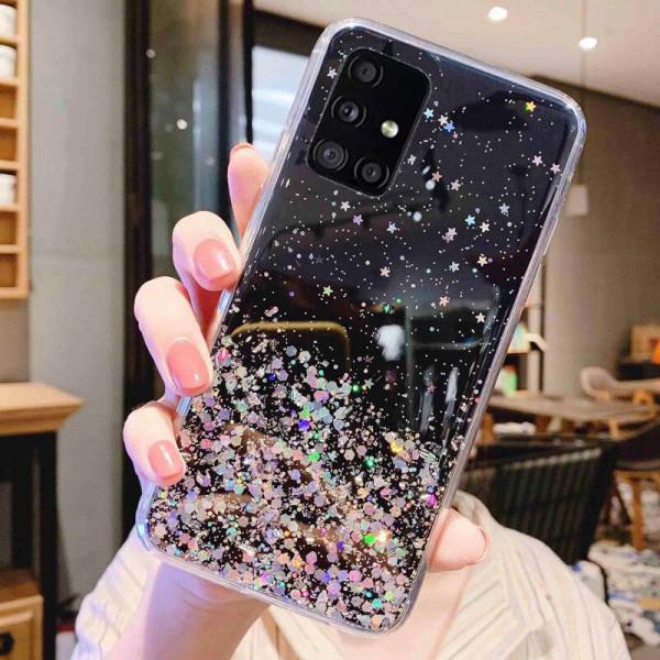 Силиконовый чехол с блестками для Samsung A51 Чёрный