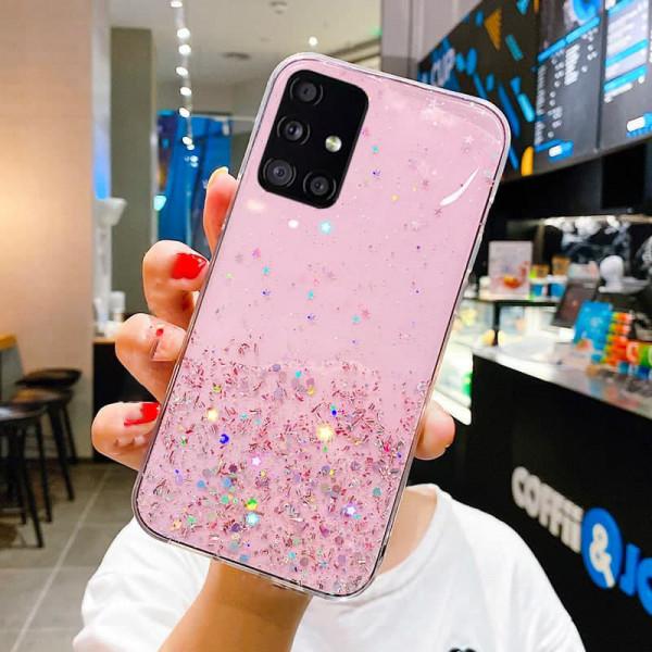 Силиконовый чехол с блестками для Samsung A51 Розовый