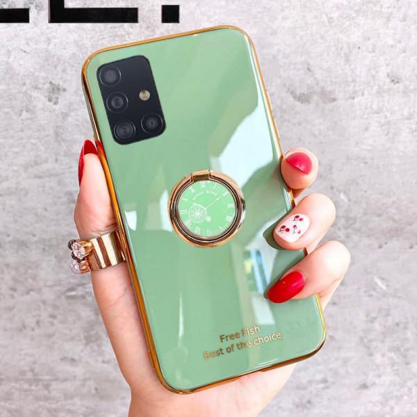 Силиконовый чехол с кольцом-держателем для Samsung A51 Светло-зелёный