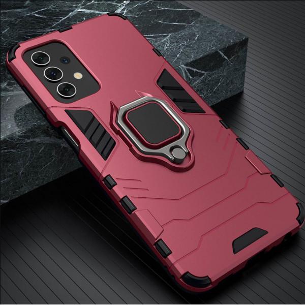 Защитный бампер IronMan для Samsung A52 с кольцом-держателем Красный