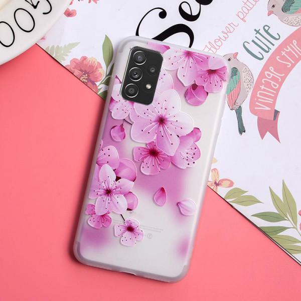 Рельефный силиконовый чехол для Samsung A52 с картинкой Цвет вишни