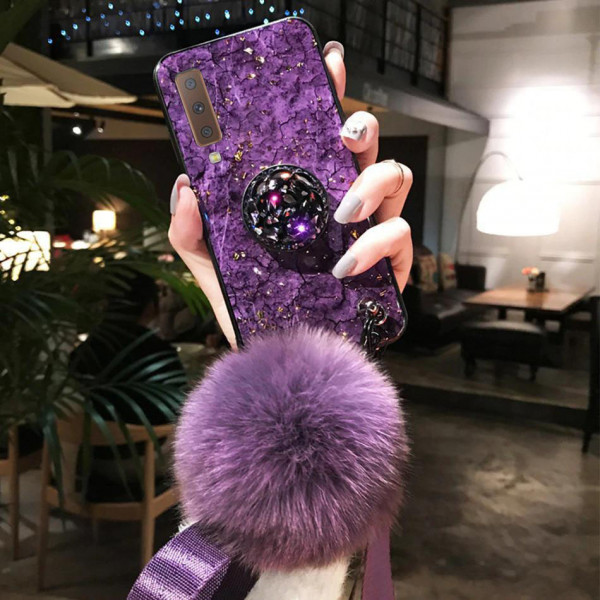 Силиконовый чехол с попсокетом и меховым помпоном для Samsung A7 2018 (A750) Фиолетовый