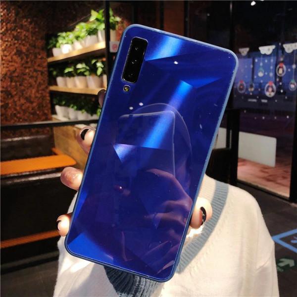 Силиконовый чехол с зеркальным покрытием для Samsung Galaxy A70 Синий