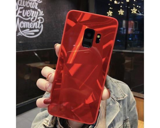 Силиконовый чехол с зеркальным покрытием для Samsung A8 2018 Красный