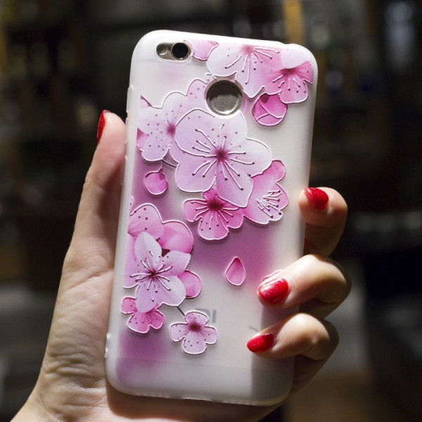 Рельефный силиконовый чехол для Xiaomi Redmi 4x с картинкой Цвет вишни