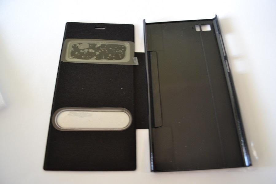 Чехол книжка для Xiaomi Mi3 (с вырезом для часов и звонков) (чёрный)