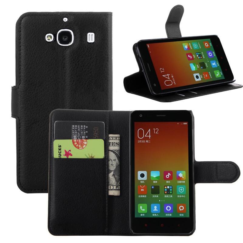 Купить кожаный чехол-книжка для Xiaomi RedMi 2 (чёрный) в Украине