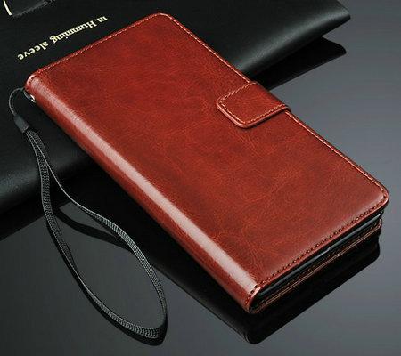 Купить кожаный чехол-книжка для Xiaomi RedMi Note (2 цвета) в Украине